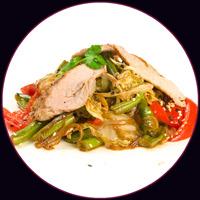 Свинина с овощами под соусом терияки